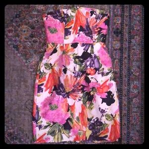 JCrew Floral Strapless Dress - Size 2